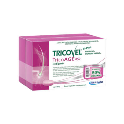 Tricovel Tricoage 45+ BioEquolo Étrend-kiegészítő tabletta 2x30 db Duo Pack