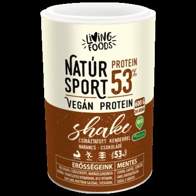 Living Foods Natúr Sport Vegán Protein Shake narancsos csokoládés 600 g