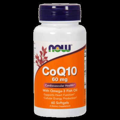 Now Foods CoQ10 60 mg w Omega 3 Fish Oils - 60 Softgels