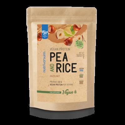 Nutriversum Pea & Rice Vegan Protein - 500g - VEGAN - mogyoró